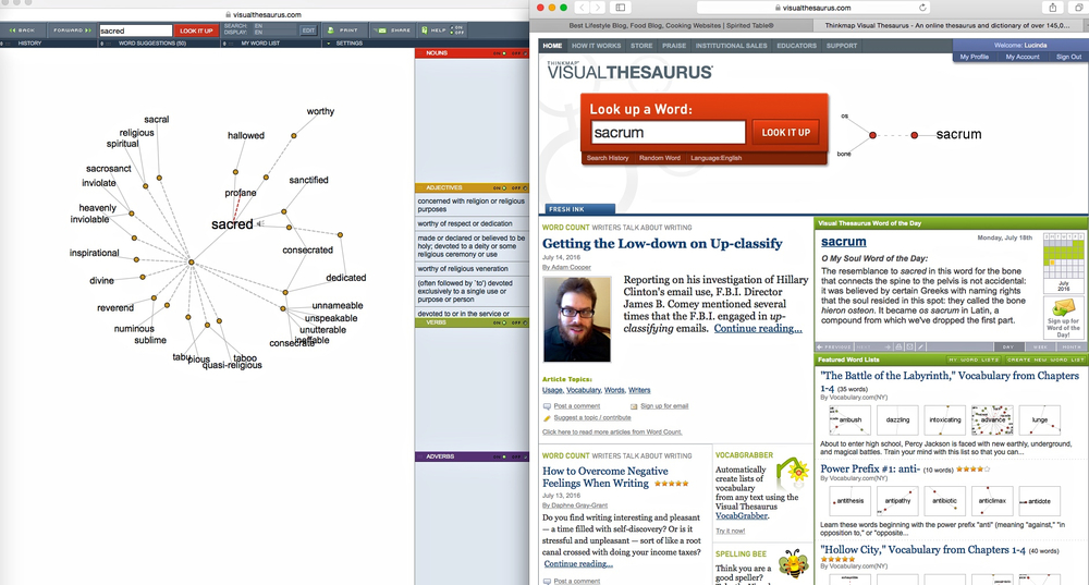 Screenshot 2 pages of visualthesaurus.com by Cindi Sutter