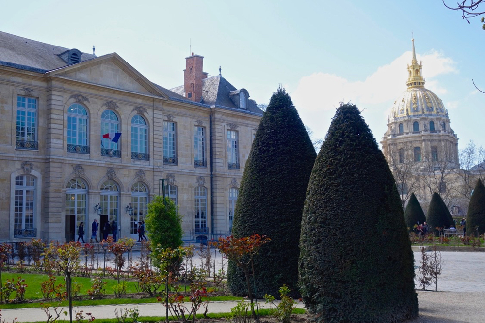 Courtyard and Entrance to Musée Rodin, Paris, with Dome of the Invalides (Photo courtesy of Lisa Michaux
