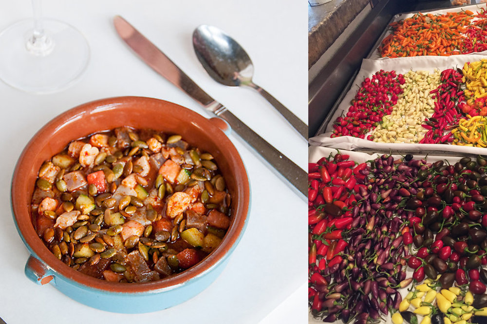 Gulf Shrimp and Fish Ceviche and a Batch of Fresh Chiles at Herbsaint - photo by Will Blunt