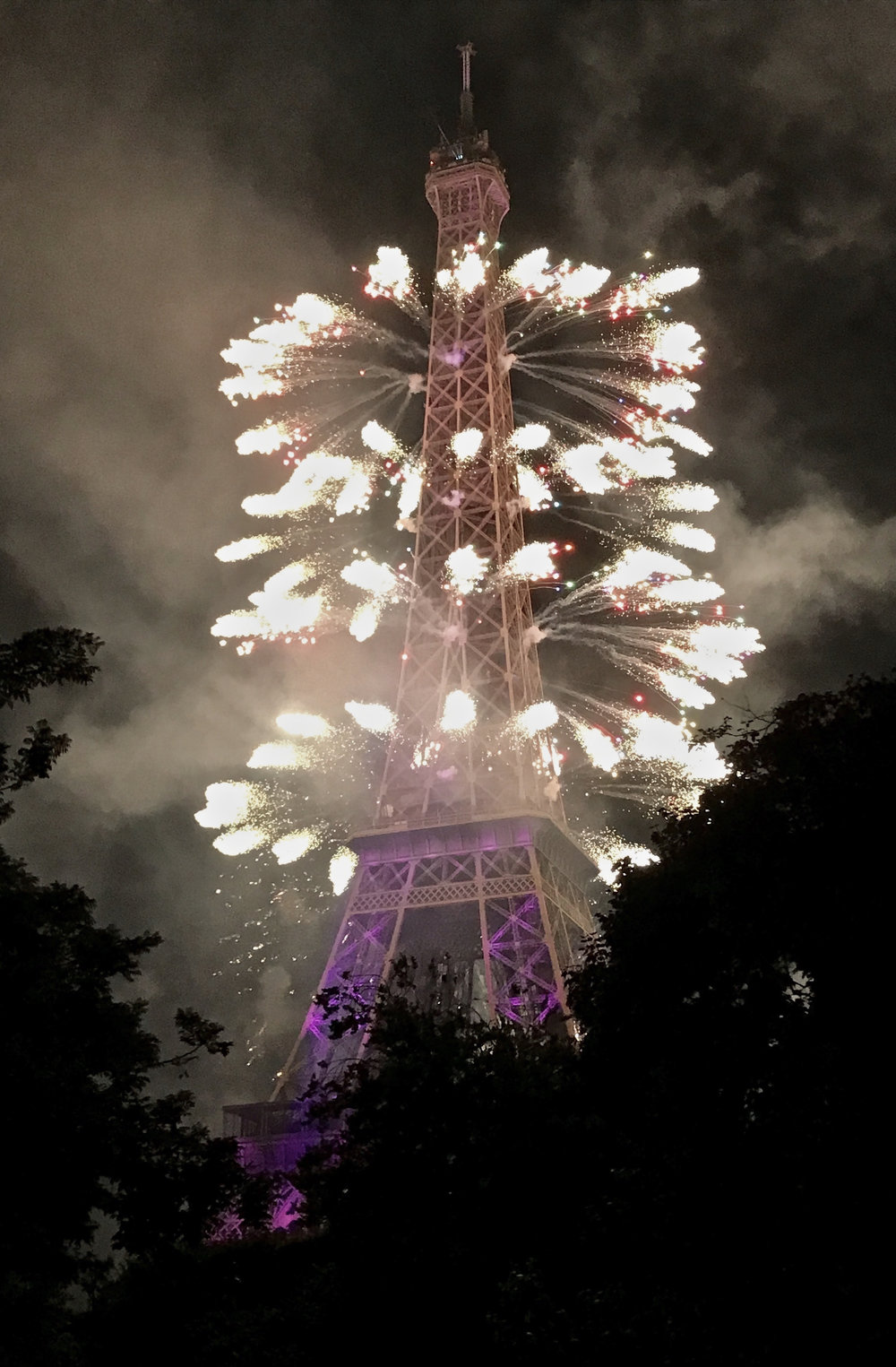 Fireworks surrounding the Eiffel Tower (image courtesy of Lisa Michaux)