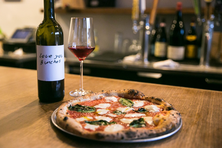 Pizza Margherita paired with Sangiovese, Love You Bunches, Stolpman Vineyards, Central Coast, California, 2016