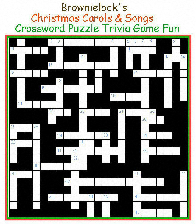 Christmas Crossword Puzzle.Brownielock S Christmas Carols Songs Crossword Puzzle