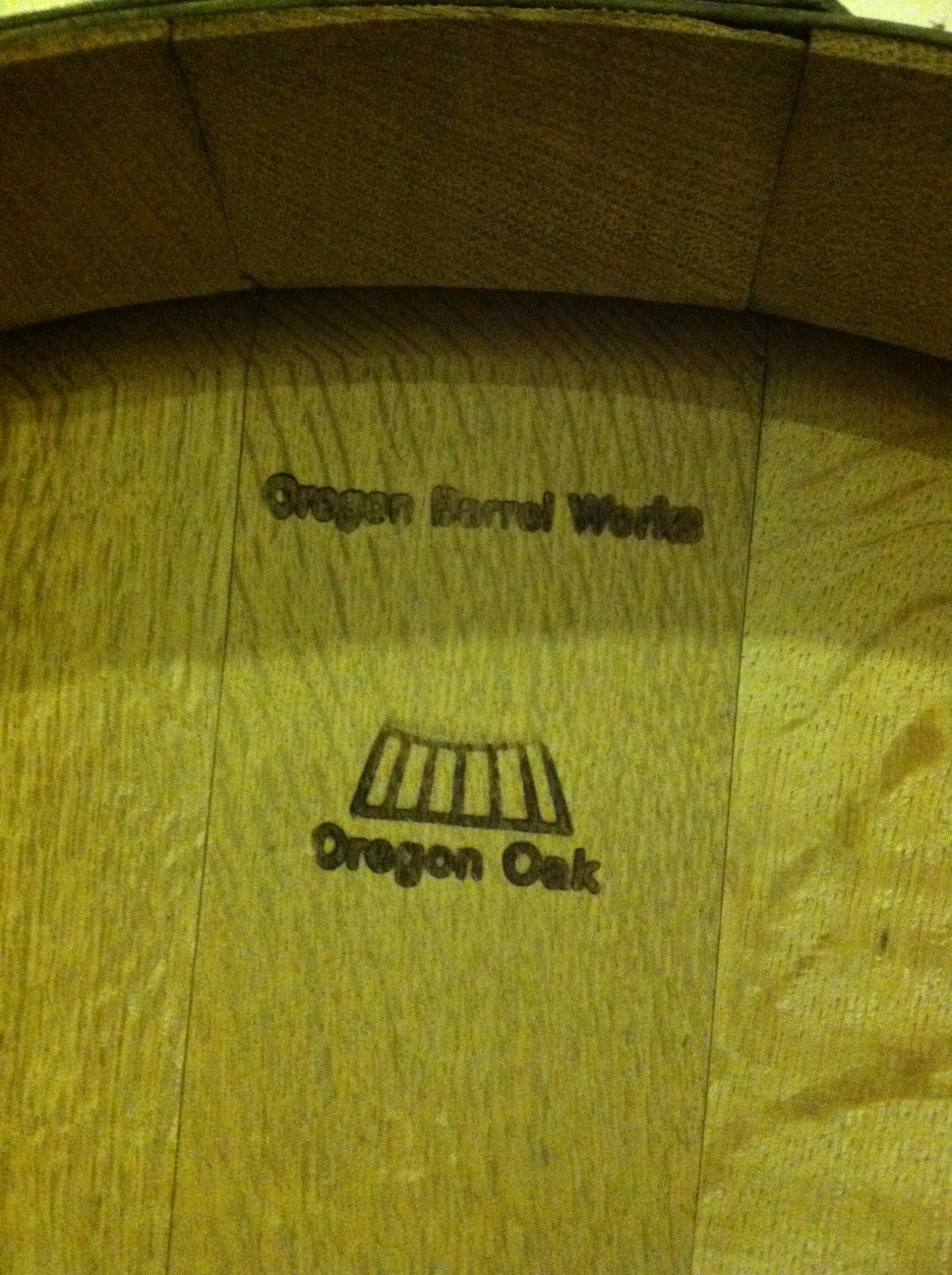 Oregon oak barrel at Belle Pente