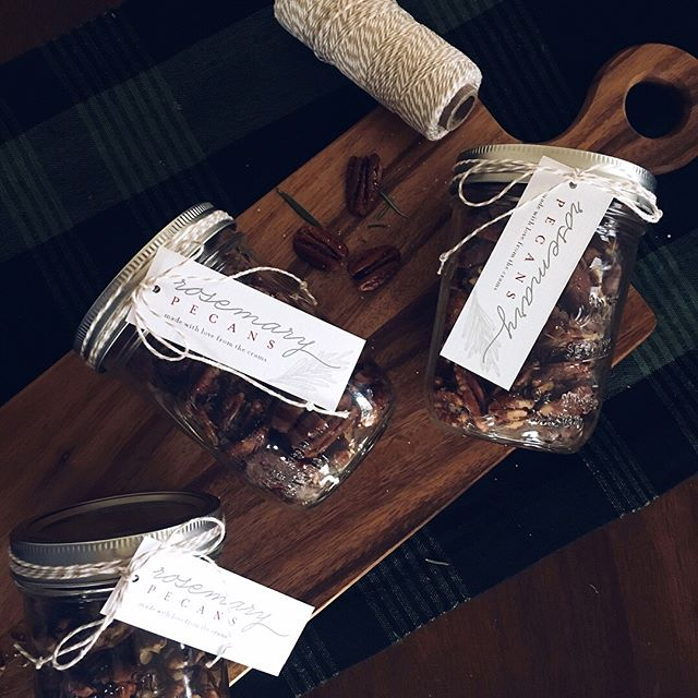 Homemade gift making today complete with custom tags ❤️ Rosemary pecan recipe from one of my favorites @lauraleabalanced Thanks for the perfect gift idea Laura Lea!