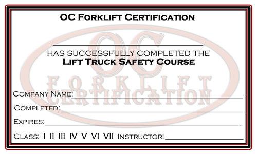 OC Forklift Certification