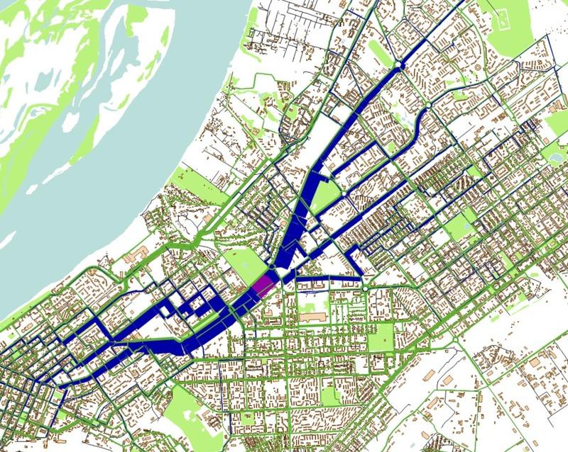 Карта из транспортной модели Самары