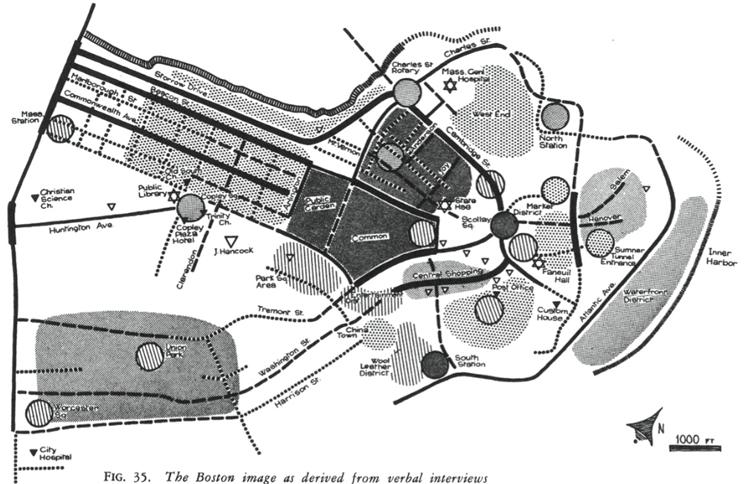 Образ Бостона, основанный на словестных интервью (Кевин Линч, 1960)