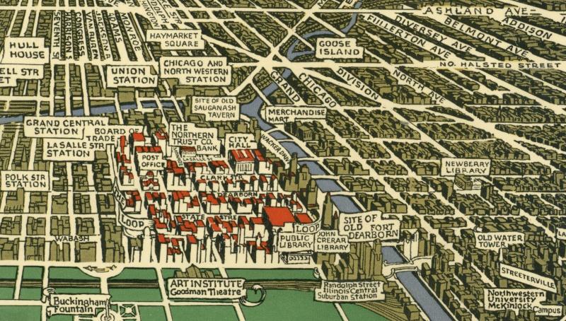 Карта Чикаго. Walter H. Conley, 1933