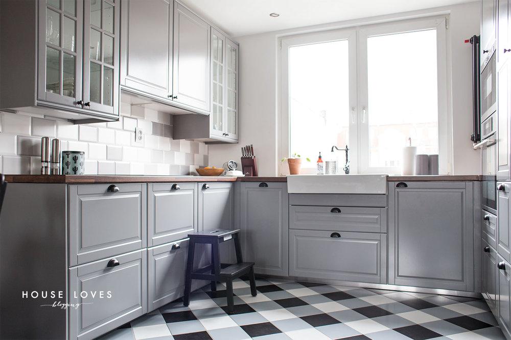 projekt kuchni z szarymi frontami ikea bodbyn — H O U S E   -> Kuchnia Ikea Lindigo
