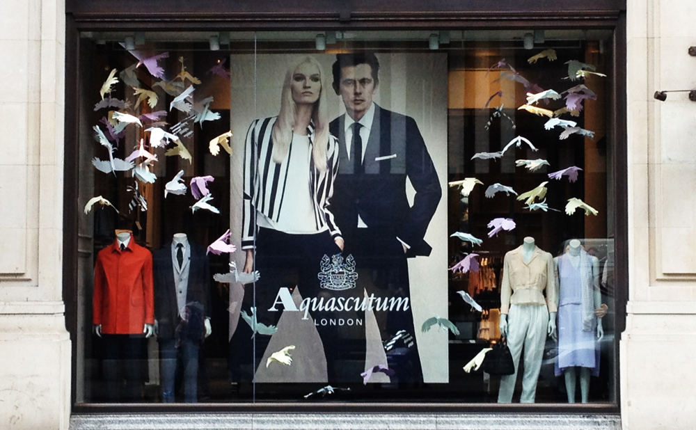 Aquascutum Paper bird window installation for Aquascutum, London.