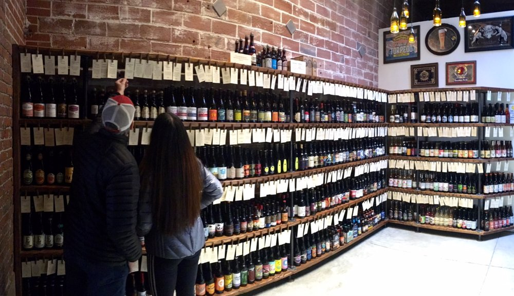 Thanks to my brother, Richard, for snapping this great shot of the beer wall in the back room at the Imperial Bottle Company on Alberta Street.