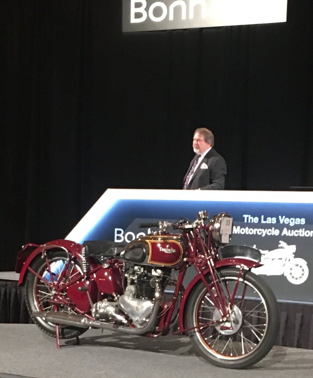There was competitive bidding all the way to the end, as Steve McQueen's Triumph sold for $175,000.