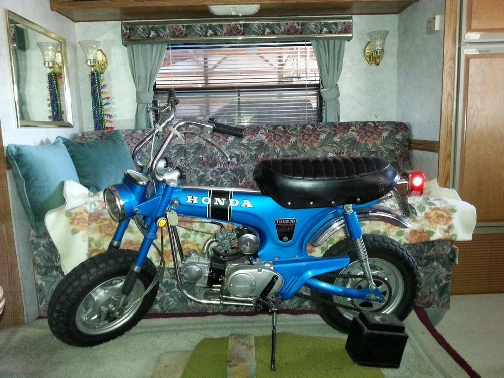 My dad found this nice Honda ct 70 at a garage sale. He ran out of space in his shop so in he gave to me. It travel down to Portland in his camping trailer.