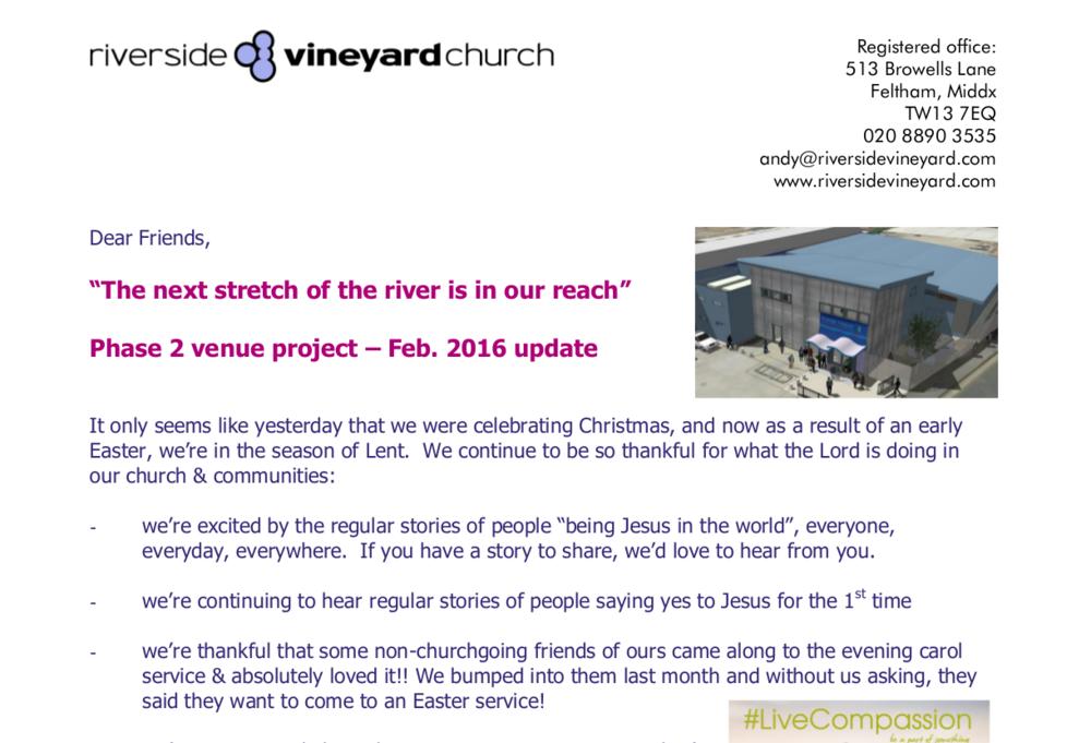 February 2016 Venue Update