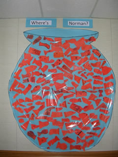 Where's Norman?  Students from Monte Cassino in Tulsa, Oklahoma, hid Norman in this gigantic bowl of thumbprint goldfish.