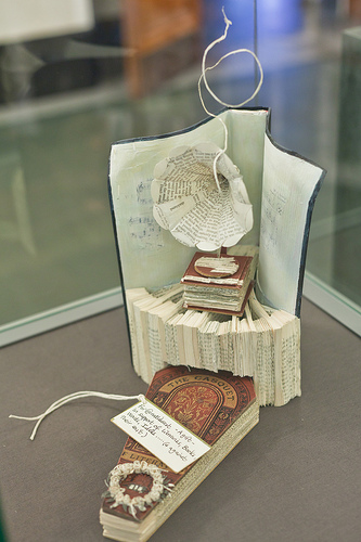 A gramophone and a coffin, sculpted from a copy of Ian Rankin's Exit Music, and again deposited anonymously. The tag in this case read:     For @natlibscot – A gift in support of libraries, books, words, ideas….. (& against their exit)