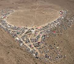 An Arial of the community erected in the Black Rock Desert for 8 days only