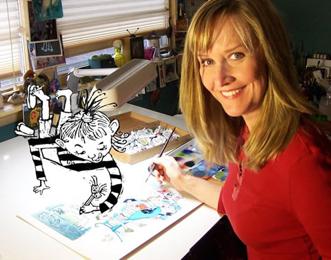 Here's Terri hard at work on the illustrations for One Day I Went Rambling.