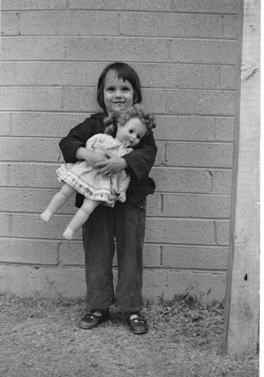 "3 1/2 year-old Anne and her ""trusty"" friend"