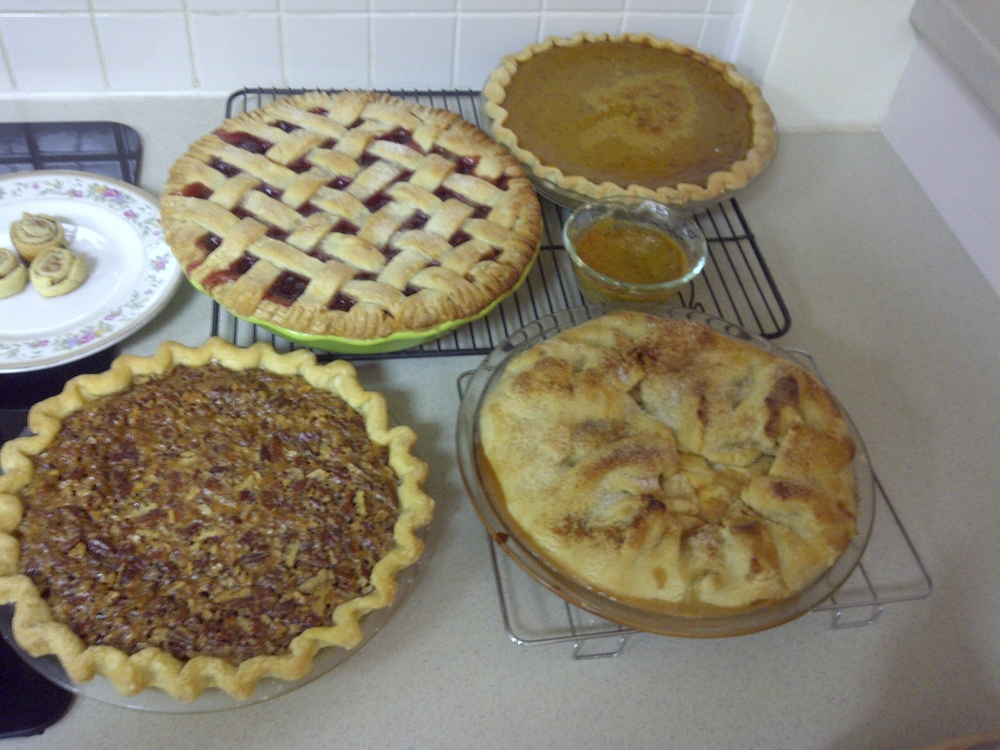 "Cherry, pumpkin, apple, pecan . . .  Just saying the word, as the song goes,  ""Makes my eyes light up/My tummy say 'howdy'!""- from Shoo-fly Pie and Apple Pan Dowdie"