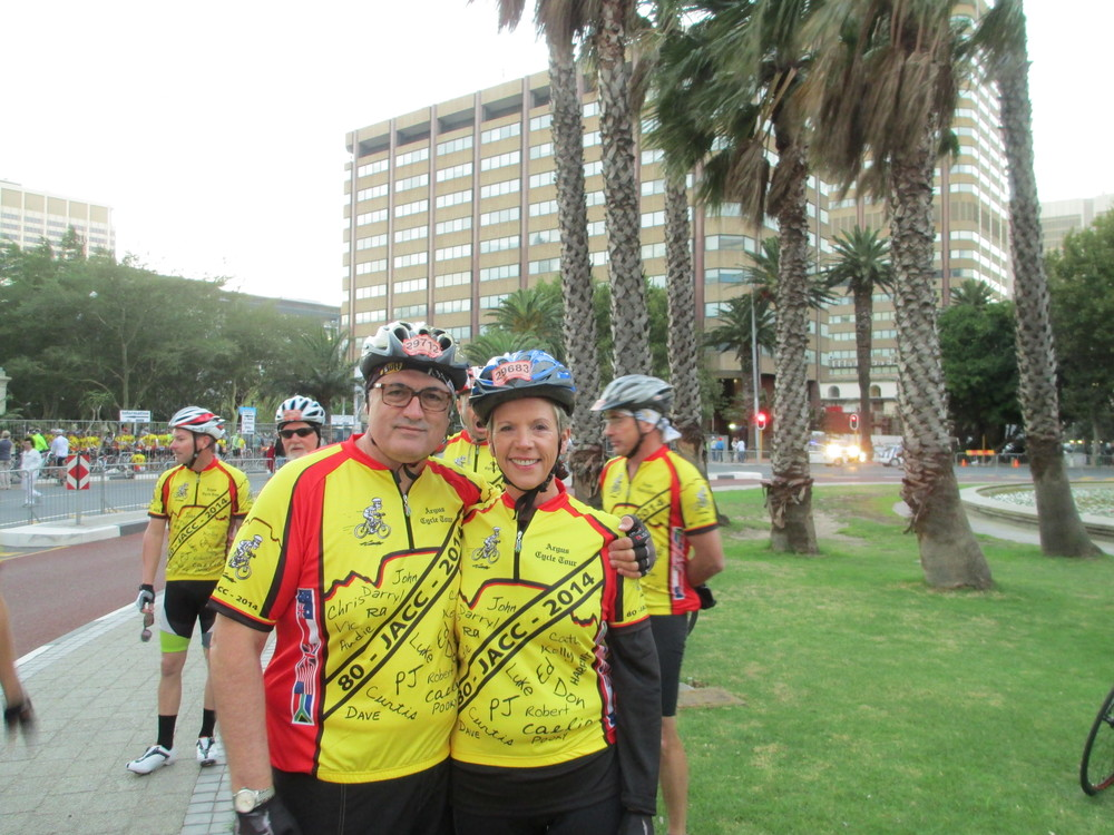 "Curtis and me--a couple of ""posers"" at the start of the ride"