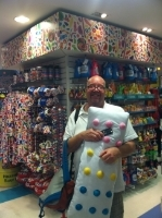 Played with Dots pillows--even though we knew we'd get in trouble-- in  Dylan's Candy Store