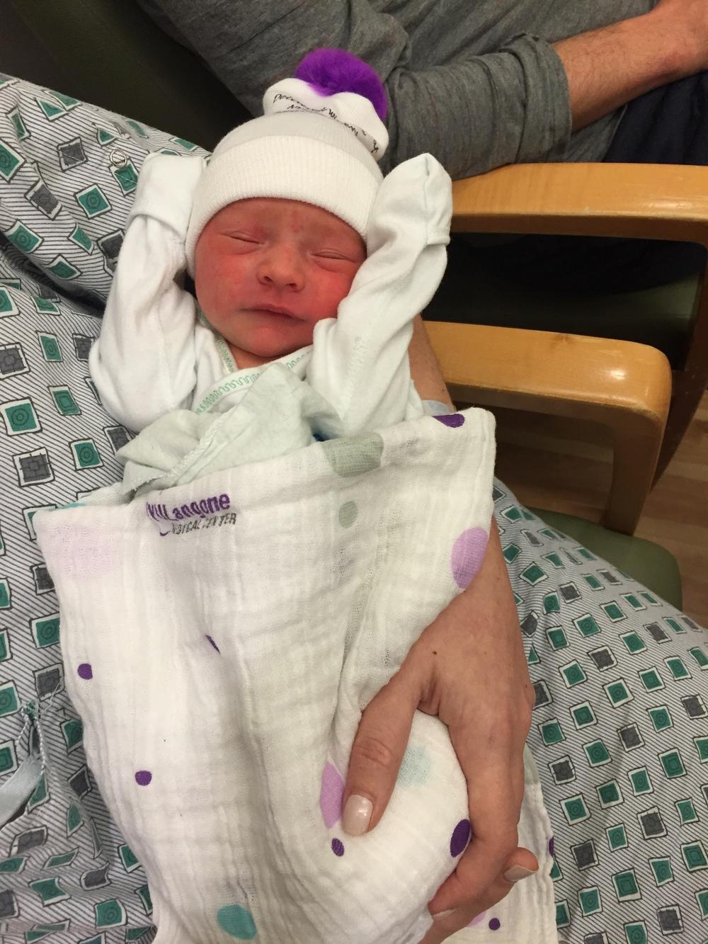Dylan Thomas Cummings, 17 hours old