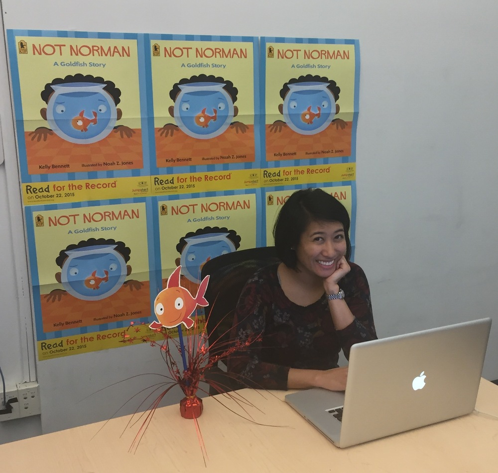 Jamie Tan from Candlewick Press hooking up the webcast on 10-22-15