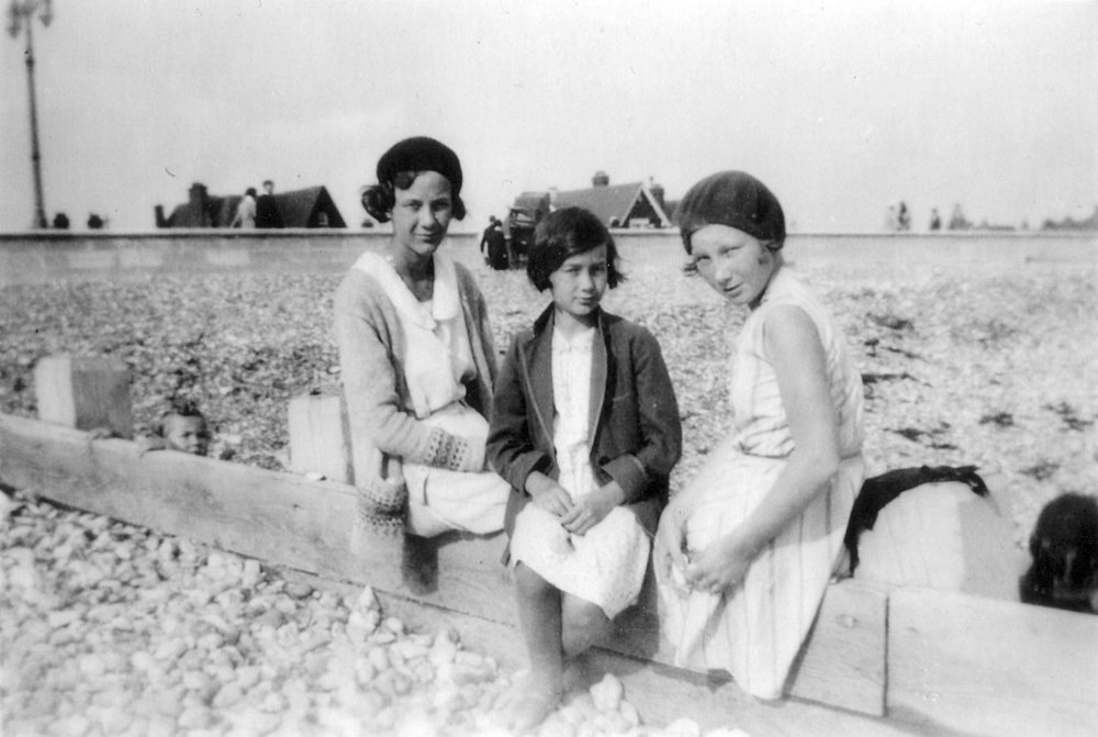 Audrey (right) at the English seaside with her sisters Joan (left) and Tottie (centre), 1931