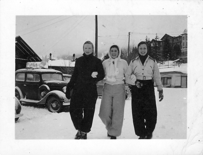 Audrey (left) with Dorothy Hutchison (centre) on a hard-earned skiing holiday in Villars, Switzerland, 1938