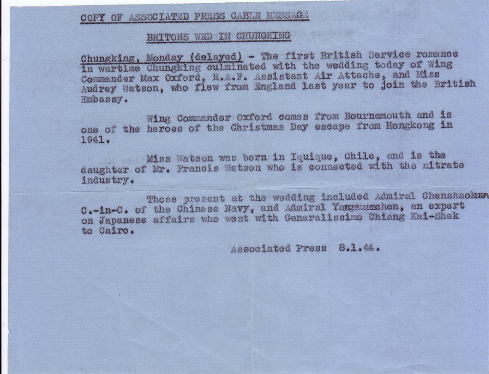 Announcement in the Associated Press of the marriage of Max Oxford and Audrey Watson