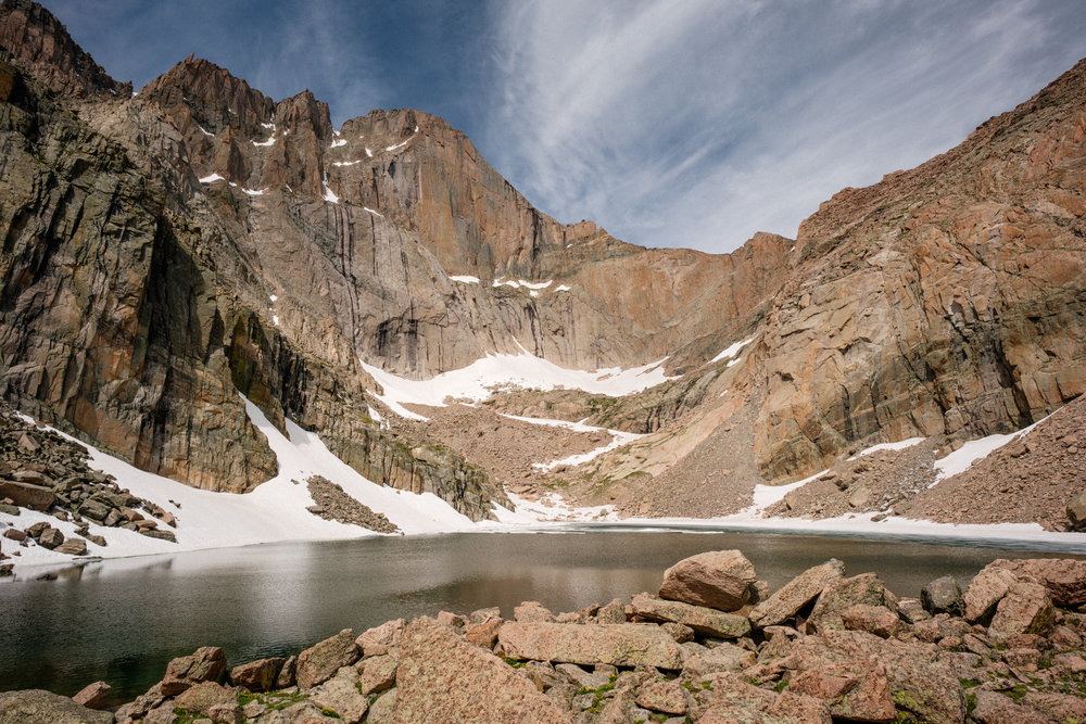 CHASM LAKE AT ROCKY MOUNTAIN NATIONAL PARK