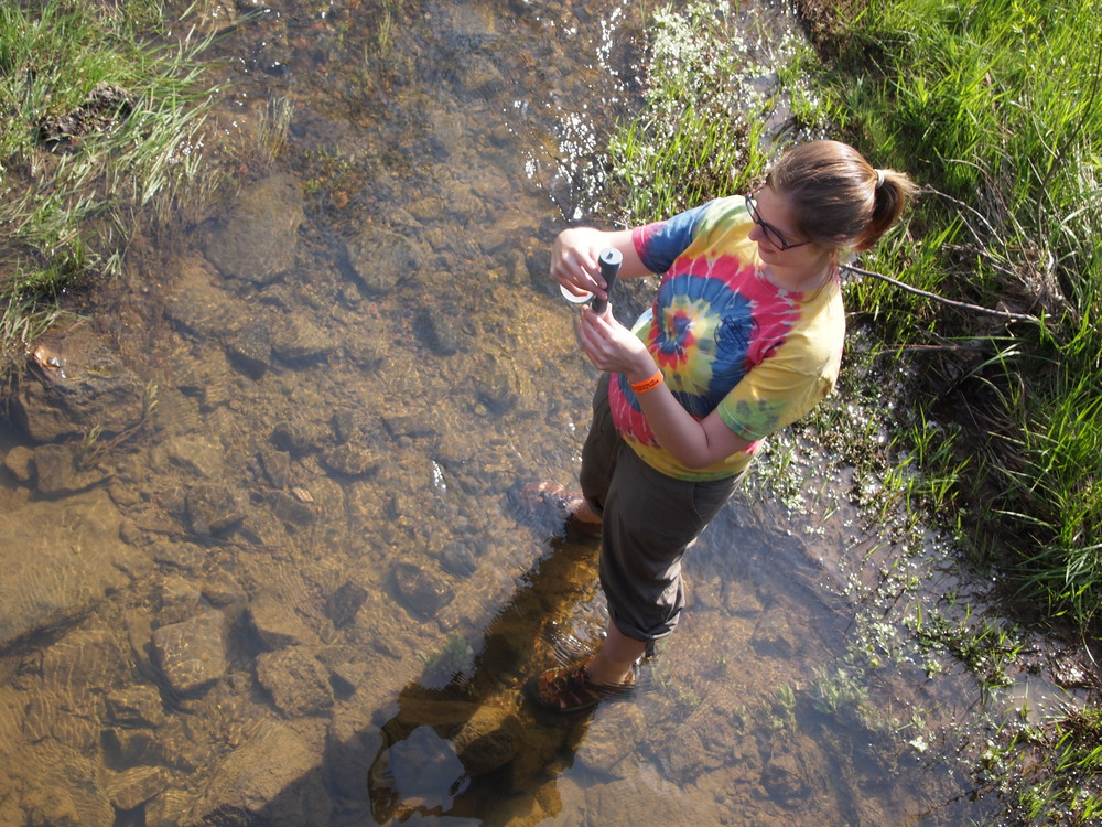 WV Rivers staff member Kathleen Tyner takes a conductivity reading as part of WV Rivers volunteer monitoring program.