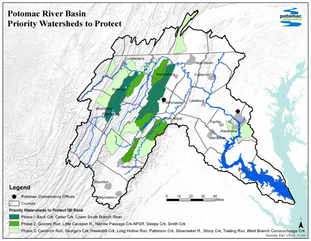 Sub-watersheds targeted for streamside land protection