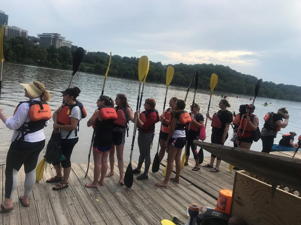 Long line of paddlers waiting to get their boats.jpg