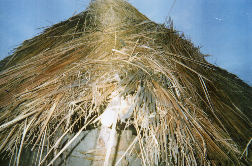 This straw hut reminds me of how we lived with our families under this roof before the war.
