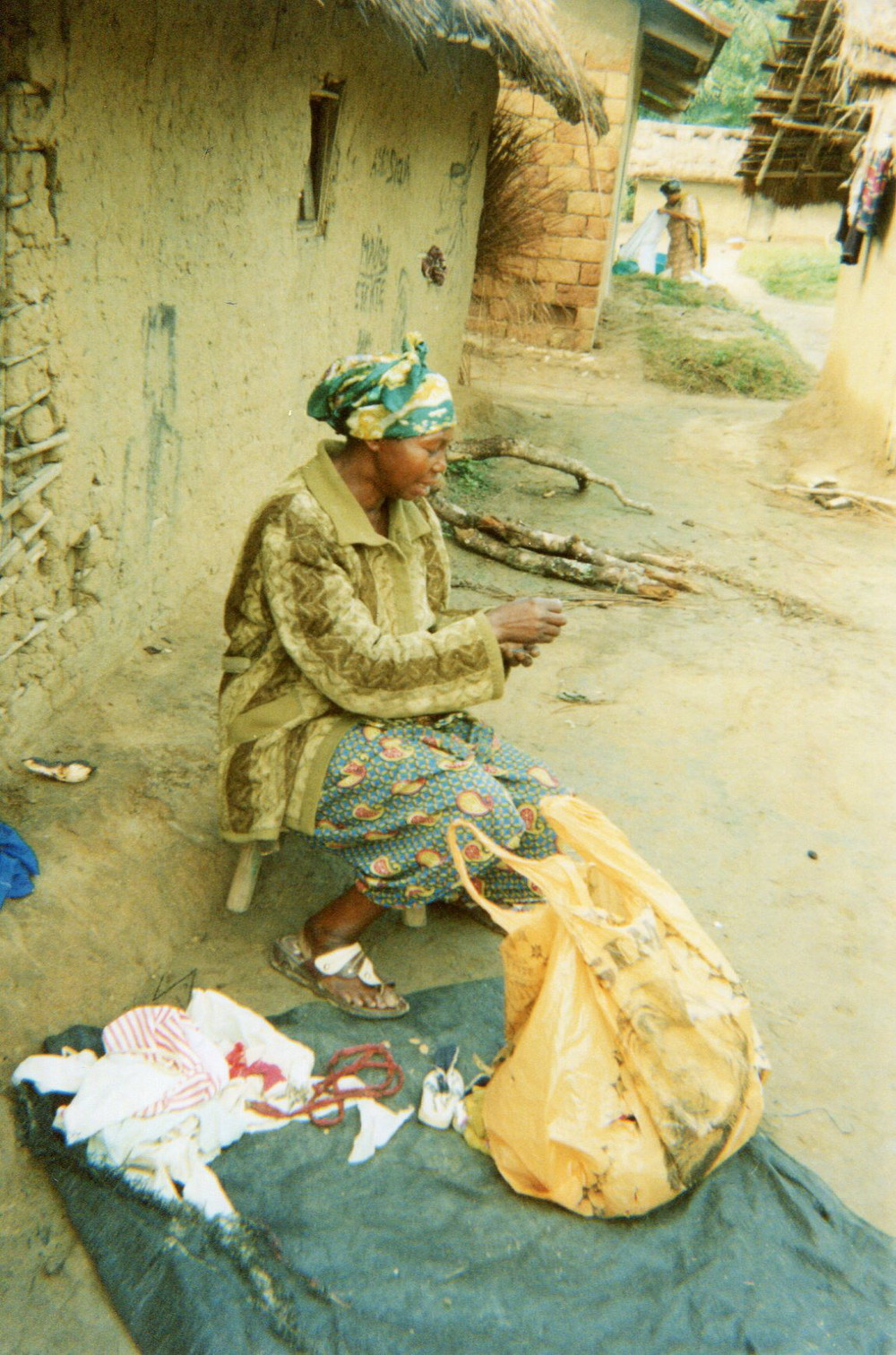 A woman sews clothes.