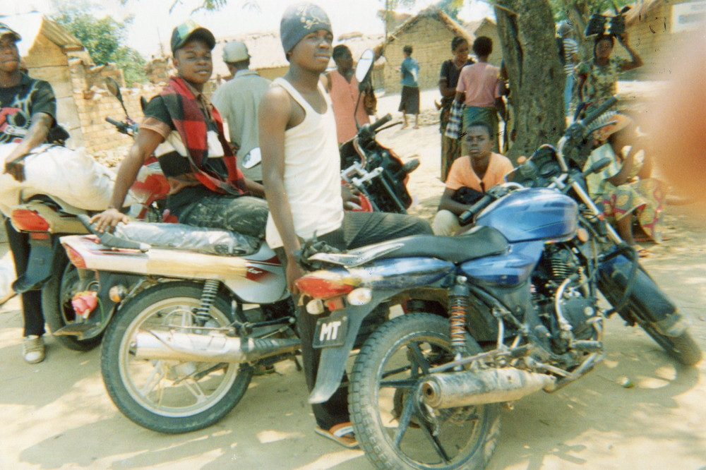 Drivers of motorcycles during a peaceful time.