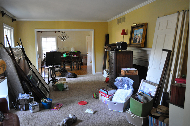 Moving is terrible. This is our front room looking into the dining room. The front room became our true living space while all the bedroom floors were redone.