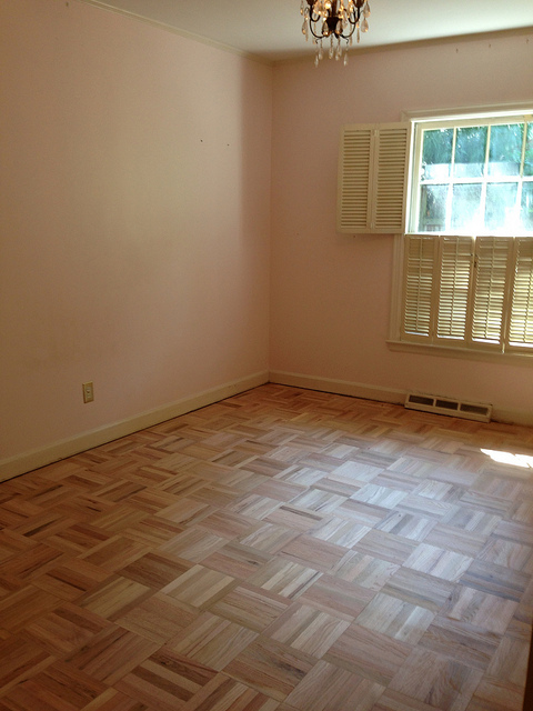 Here's Everett's room after the carpet was removed and the floors were sanded.