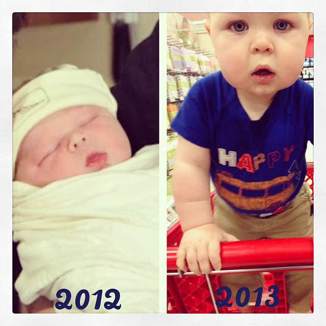 Here's a photo comparison of Everett on his actual birthday. It's just unbelievable the changes in just one year!