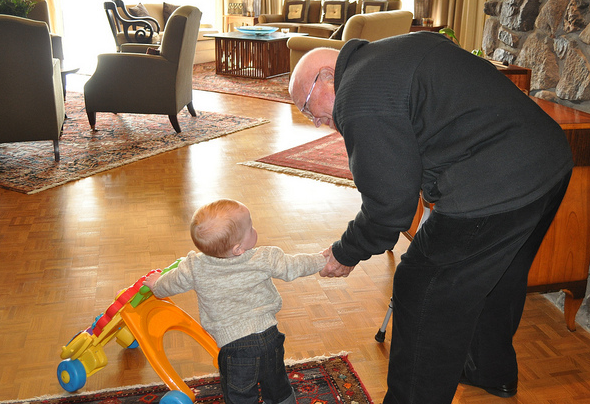 Thad and Everett went on a walk around the house. Everett runs so fast with his walker that Thad could hardly keep up!