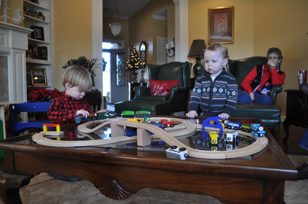Colton and E played well together, and thankfully, Grandma got plenty of new trains to share.