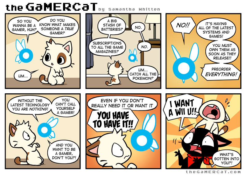 theGaMERCaT is a webcomic written and drawn by Samantha Whitten.  Mosey on over to her website  and have a look at it.
