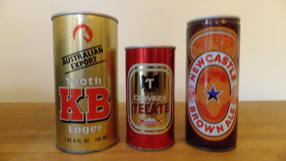 Some foreign beers from the liquor store that I got my dad to buy: Tooth KB Lager (Australia), Cerveza Tecate (Mexico), Newcastle Brown Ale (England).