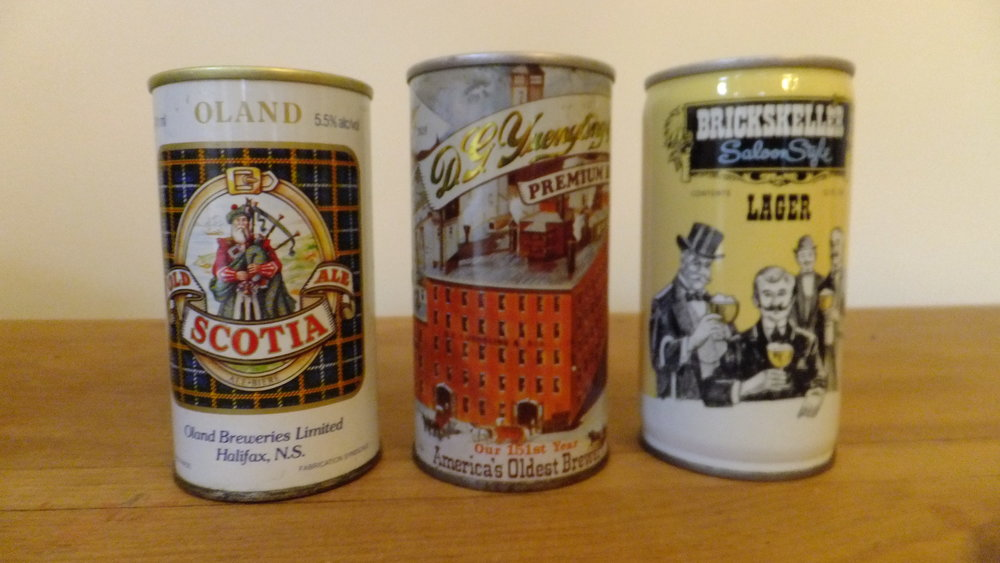 Some cans from family vacations: Old Scotia Ale (Halifax, NS), D.G Yuengling and Son Premium Beer (Pottsville, PA), Brickskeller Saloon Style Beer (Pittsburgh, PA)