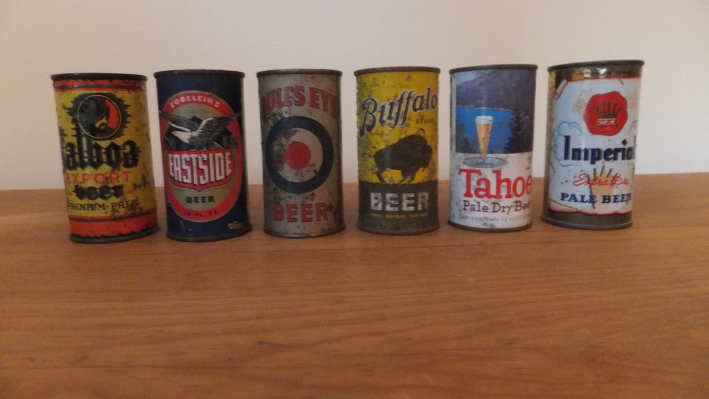 Some of my favorite California cans. Balboa (Southern Brewing, Los Angeles, 1948), Eastside (Los Angeles Brewing, Los Angeles, 1950), Bullseye, Golden West, Oakland, 1939), Buffalo (Buffalo Brewing, Sacramento, 1939), Tahoe (Grace Brothers, Santa Rosa, 1959), Imperial (Southern Brewing, Los Angeles, 1957)