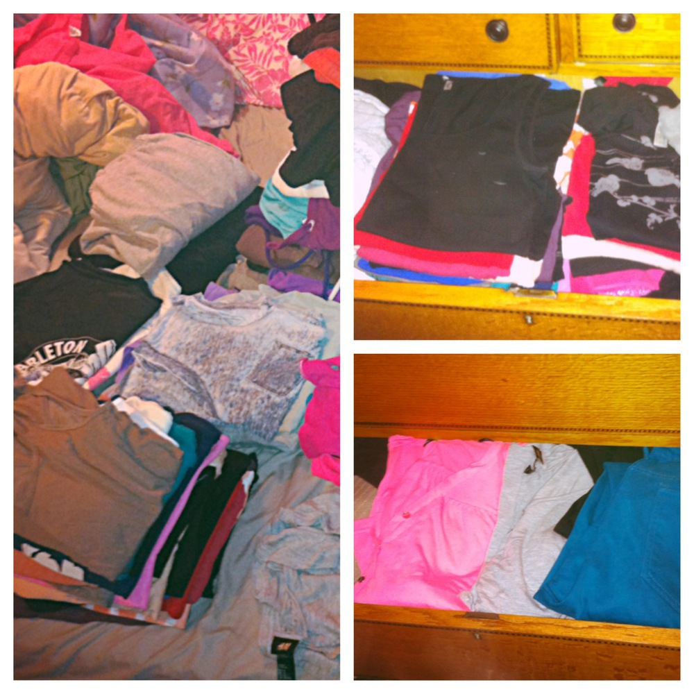 Left: My clothes all organized and folded. Top Right: Folded t-shirts and tank tops in the drawer. Bottom Right: Long-sleeved shirts and pants folded in the drawer and not on the floor.