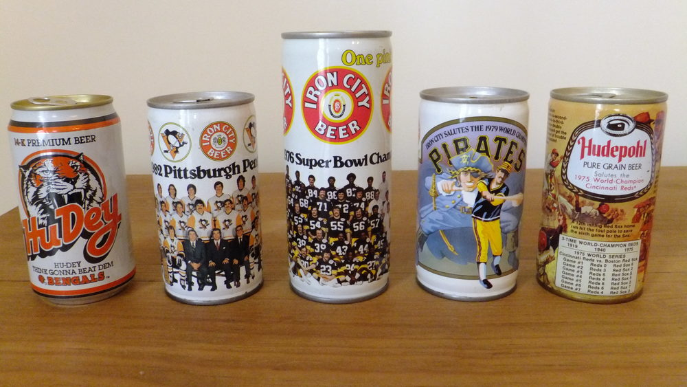 1988 Cincinnati Bengals (Hudepohl-Schoenling Brewing), 1982 Pittsburgh Penguins (Pittsburgh Brewing), 1976 Pittsburgh Steelers (Pittsburgh Brewing), 1979 Pittsburgh Pirates (Pittsburgh Brewing), 1975 Cincinnati Reds (Hudepohl Brewing)