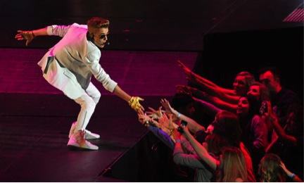 Pre-pubescent fans attempting to drag Justin off the stage to alleviate their 'Bieber Fever' symptoms. Many shoulders were dislocated in the process.